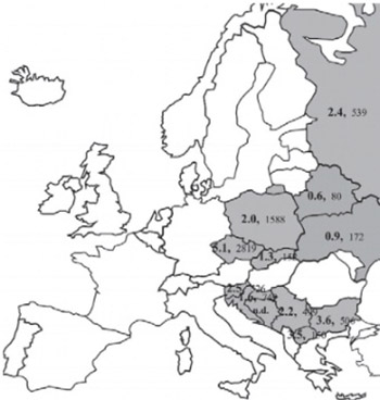 Prevalence of 1691G>A FV mutation in Poland compared with that in other Central, Eastern and South-Eastern European countries